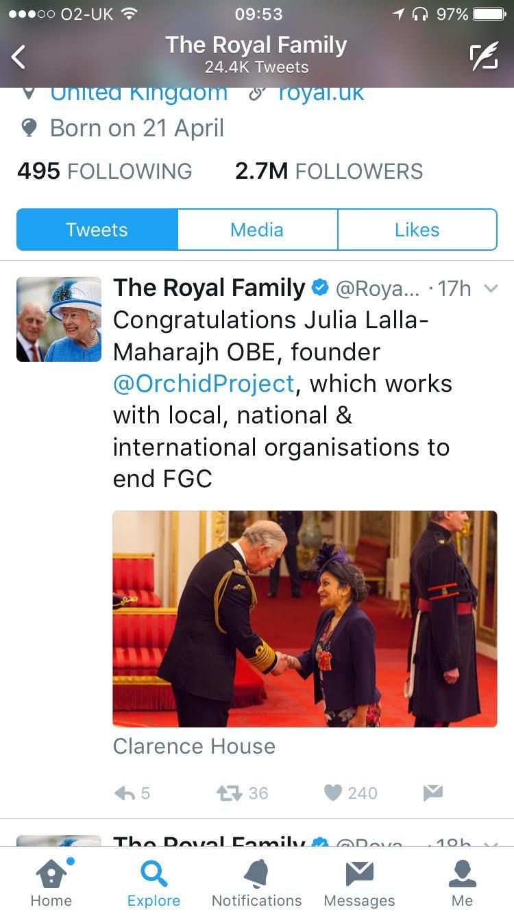 Royal tweet